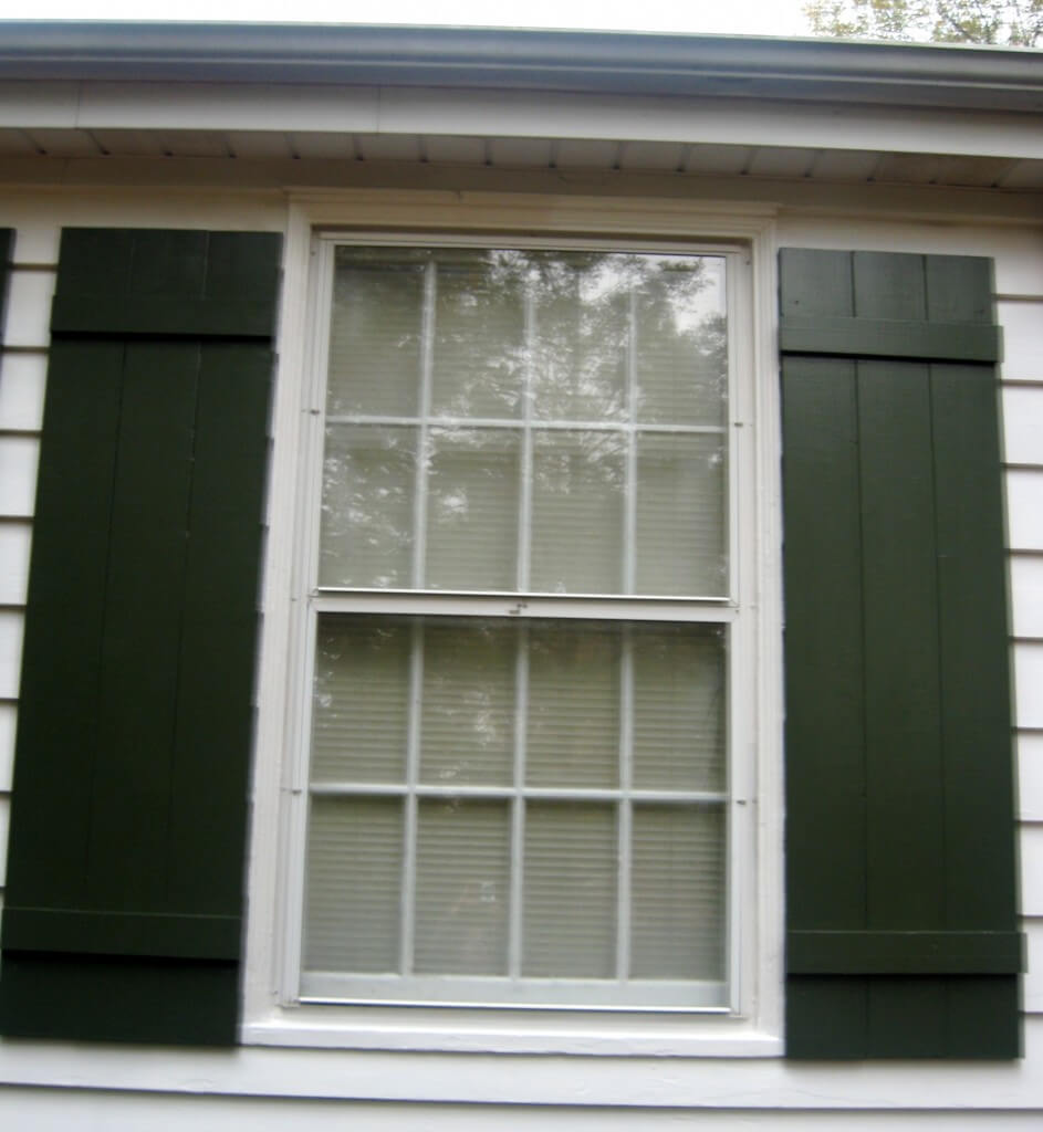 Homemade board batten shutters little house in the suburbs How to make exterior shutters