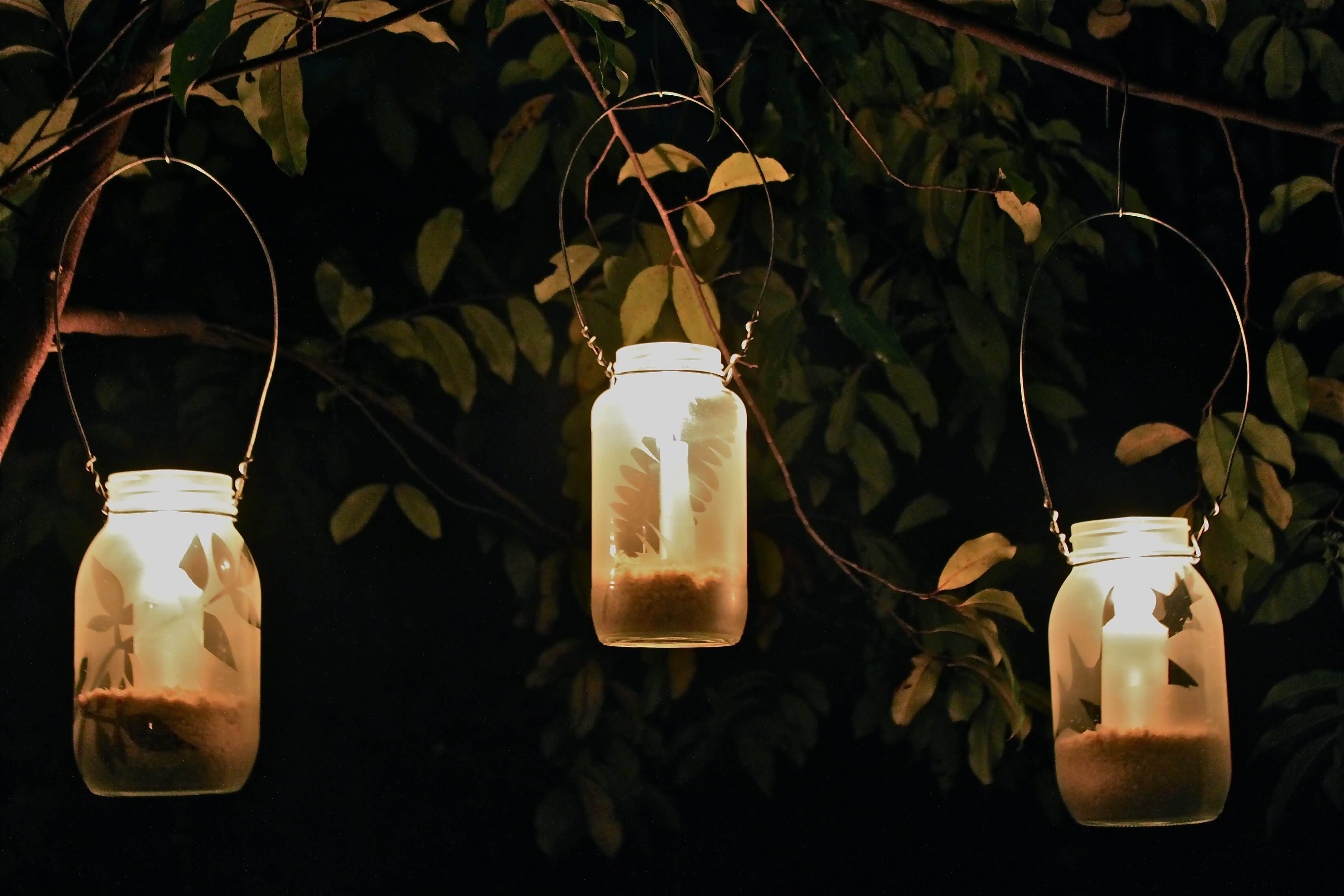 diy frosted garden lanterns little house in the suburbs. Black Bedroom Furniture Sets. Home Design Ideas