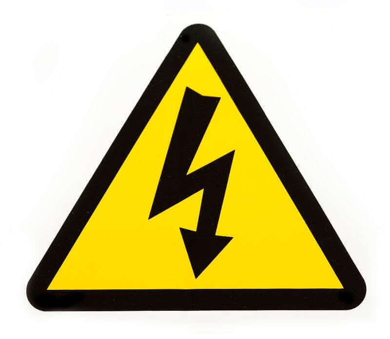 a yellow electric danger warning symbol on white